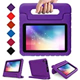 Kids Case for Fire 7 Tablet (7th Generation, 2017 Release), LTROP EVA Super Protective Fire 7 Case for Kids, Anti-Slip Light Weight Shock-Proof 2017 New Fire 7 Tablet Case – Purple