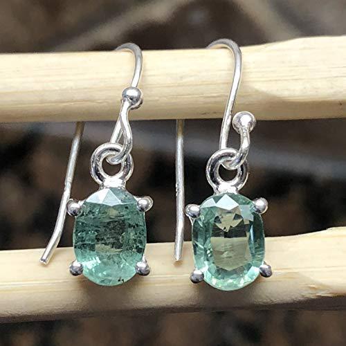 Natural Green Kyanite 925 Solid Sterling Silver Dangle Earrings 20mm Long