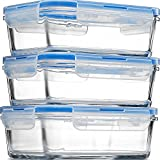 Glass Meal Prep Food Storage Containers - (3-Pack 28 Oz.) Portion Control Lunch Containers, with BPA Free Airtight Snap Locking Lids, Prep, Freeze, Reheat, Bake, Oven Safe Containers for Home and Work