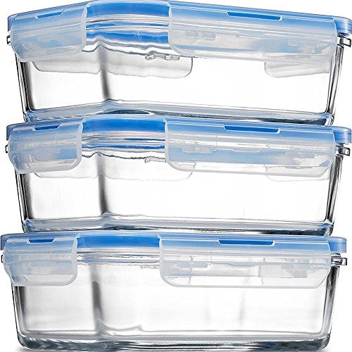 Glass Meal Prep Food Storage Containers - (3-Pack 28 Oz.) Portion Control Lunch Containers, with BPA Free Airtight Snap Locking Lids, Prep, Freeze, Reheat, Bake, Oven Safe Containers for Home ()