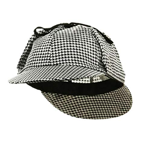 Funny Party Hats Sherlock Holmes Hat - Sherlock Holmes Costume - Detective Hat - Deerstalker Hat Black and White