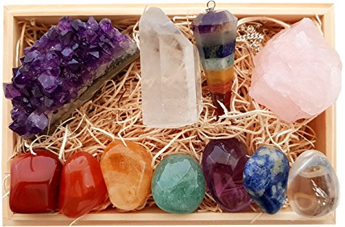 Premium Healing Crystals Gift Kit in Wooden Box - 7 Chakra Set Tumbled Stones, Rose Quartz, Amethyst Cluster, Crystal Points, Chakra Pendulum + 82 Page EBook + 20x6 Reference Guide Poster, Gift Ready (Rose Page Kit)