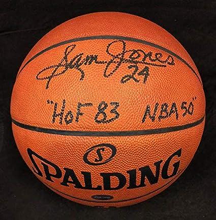 d423af79a29fc Sam Jones Autographed Basketball - Spalding Official - PSA/DNA ...