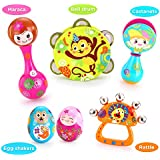 VATOS Musical Instruments for Kids, Early Educational Baby Toy, 6PCS Baby Drum Rattle Maracas Castanets Egg Shaker,Toddler Musical Toys Sets, Best Baby Gift for 3, 6, 9, 12 Month Baby Infant Kids