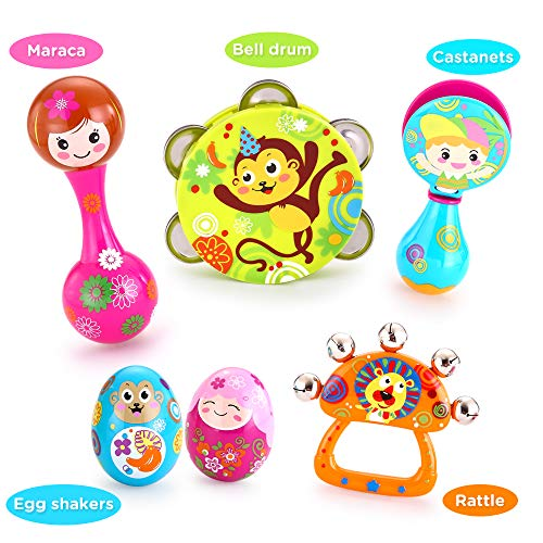 VATOS Toddler Musical Instruments,Newborn Toy,Musical Baby Toy, 6PCS Baby Drum Rattle Maracas Castanets Egg Shaker…