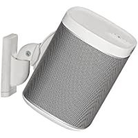 Sanus Wireless Speaker Wall Mount for Sonos PLAY:1 & PLAY:3 - Tool Free Tilt & Swivel Adjustments For Best Audio - Single (White) - WSWM1-W1