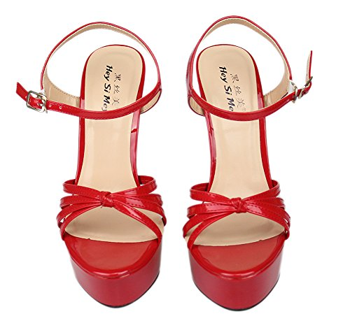 Shoes Buckle Size Heels Strap Sandals For Dress Ladies ZPL 40 Peep Red Bridal Platform Stiletto Toe 48 Ankle High Women Women's Party vxnxfY
