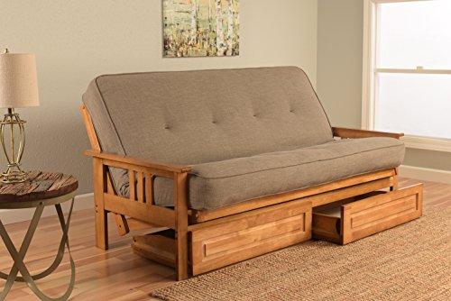 (Kodiak Furniture KFMODBTLSTNLF5MD4 Monterey Futon Set with Butternut Finish and Storage Drawers, Full, Linen Stone)