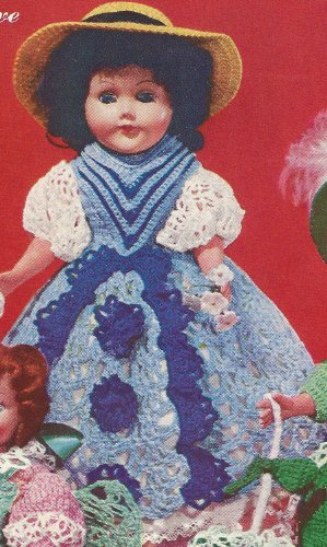 (Vintage Crochet PATTERN to make - 11 inch Doll Clothes Lacy Dress Petticoat Panties. NOT a finished item. This is a pattern and/or instructions to make the item only.)