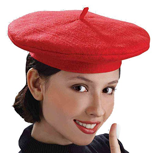French Mime Fancy Dress (Forum Women's Novelty French Beret, Red, One Size)