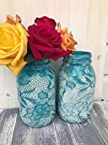 Cheap Set of 2 Ivory and Turquoise Lace Pattern Painted Mason Jars Centerpieces Rustic Wedding Supplies Shabby Chic Decorations For Bridal Shower