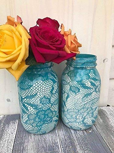 Set of 2 Ivory and Turquoise Lace Pattern Painted Mason Jars Centerpieces Rustic Wedding Supplies Shabby Chic Decorations For Bridal Shower