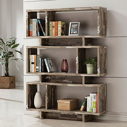 Coaster 3 Shelf Modern Bookcase in Salvaged Cabin Home Furnishings