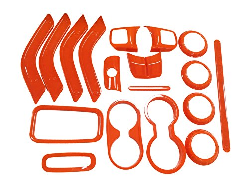 E-cowlboy 18 PCS Full Set Interior Decoration Trim Kit,Interior Door Handle Cover Trim,Air Conditioning Vent Cover Trim, Copilot Handle Cover Trim For Jeep Wrangler JK JKU 2011-2018 4-door(Orange)