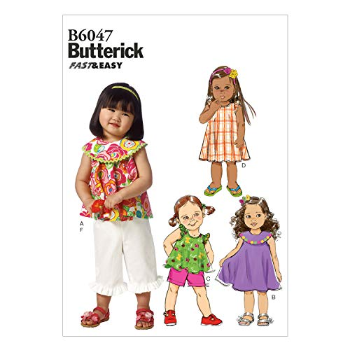 (BUTTERICK PATTERNS B6047 Toddlers' Top, Dress, Shorts and Pants Sewing Template, Size CCB)