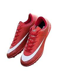 TieBao Boys Girls Turf Soccer Cleats Football Shoes Fusal Shoes Red 32726-Hong-1US/31