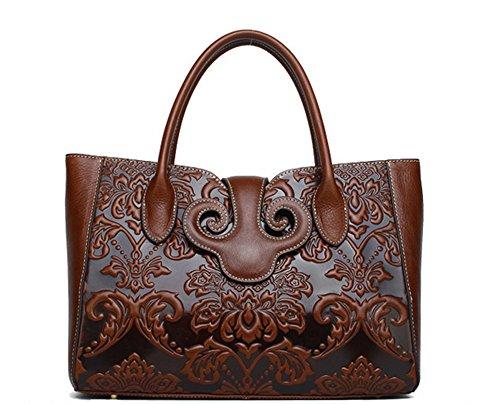 La mujer Xinmaoyuan bolsos de cuero auténtico chino Retro viento bolso de cuero de vaca, marrón Brown