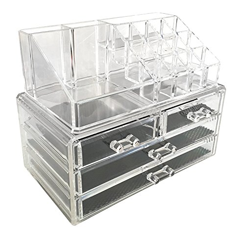 MANZOO Acrylic Makeup Cosmetic Organizer Cosmetics Organizers Storage Drawers, Two Pieces Set