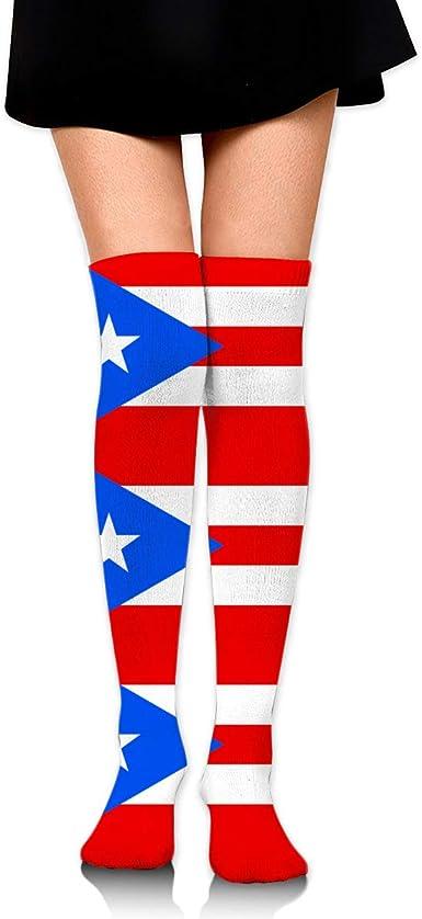 Irish Puerto Rico Flag Girls Boot Over Knee Thigh High Socks Stocking
