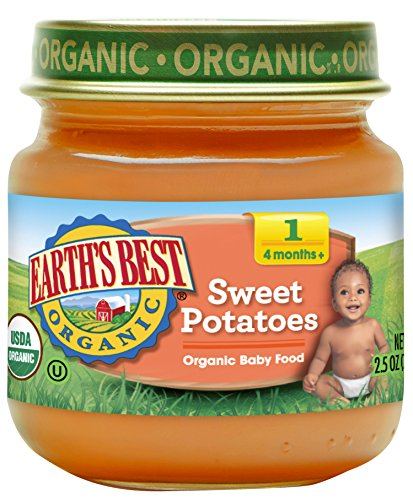 Earth's Best Organic Stage 1 Baby Food, Sweet Potatoes, 2.5 Ounce Jars, Pack of 12
