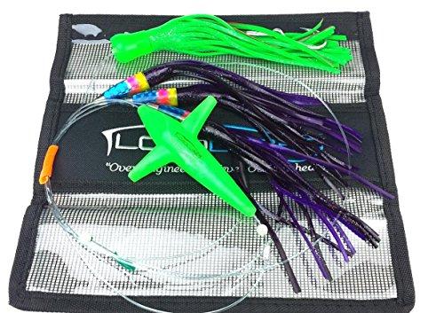 Lobo Lures Carolina Skip Jack Big Game Daisy Chain Marlin Tuna and Mahi Includes Premium Lure Bag (Purple Chain Green Stinger)