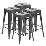 Ayvek Chairs Metal High ProStackable Indoor and Outdoor Backless Barstool (Set of 4), 26.4″, Matte Silver