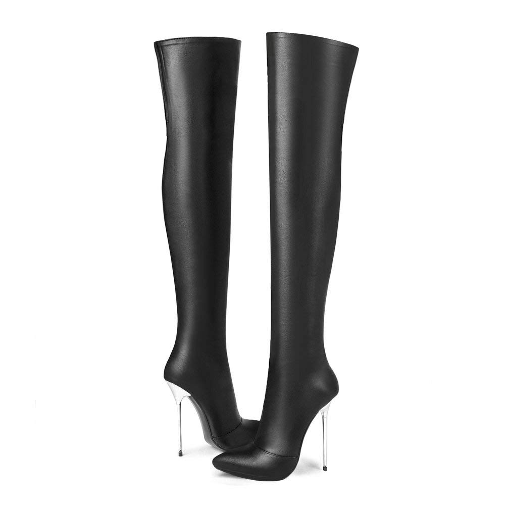 Black(Leather) AnMengXinLing Over The Knee Boot Women Pointy Toe Stiletto High Heel Stretchy Leather Party Dress Thigh High Snow Booties