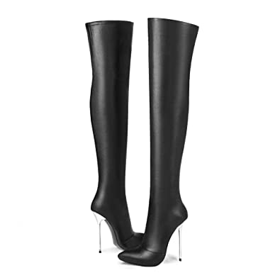 289a256ac AnMengXinLing Over The Knee Boot Women Pointy Toe Stiletto High Heel  Stretchy Leather Party Dress Thigh