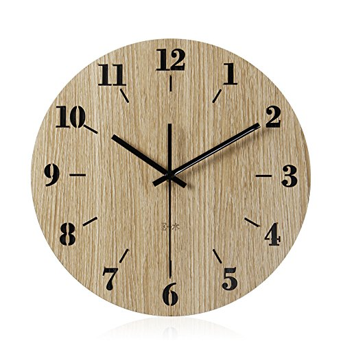 Imoerjia Creative Round Wooden Wall Clock Wall Clock in Living Room Bedroom Clocks,30Cm by Imoerjia
