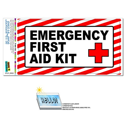 Emergency First Aid Kit - Business Store Sign SLAP-STICKZ(TM) Automotive Car Window Locker Bumper Sticker