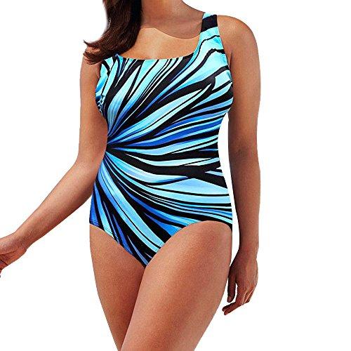 Maillot de Bain Une Pièce Vintage, Sunenjoy Bikini Dos Nu Maillot de Bain Grande Taille Push Up Rembourré Imprimé Monokini Retro Mode Natation Plage Vêtements
