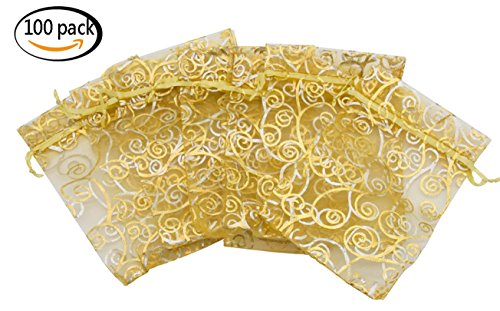Organza Drawstring Pouches 5x7 Inches 100Pcs for Jewelry Gift Candy Party Wedding Favor Bags by Youkwer( Yellow With Gold Details ) (Champagne with gold details, 5x7 Inches) ()