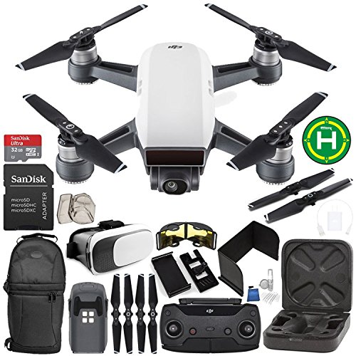 DJI Spark Portable Mini Drone Quadcopter (Alpine White) + DJI Spark Remote Controller EVERYTHING YOU NEED Starter Bundle by SSE