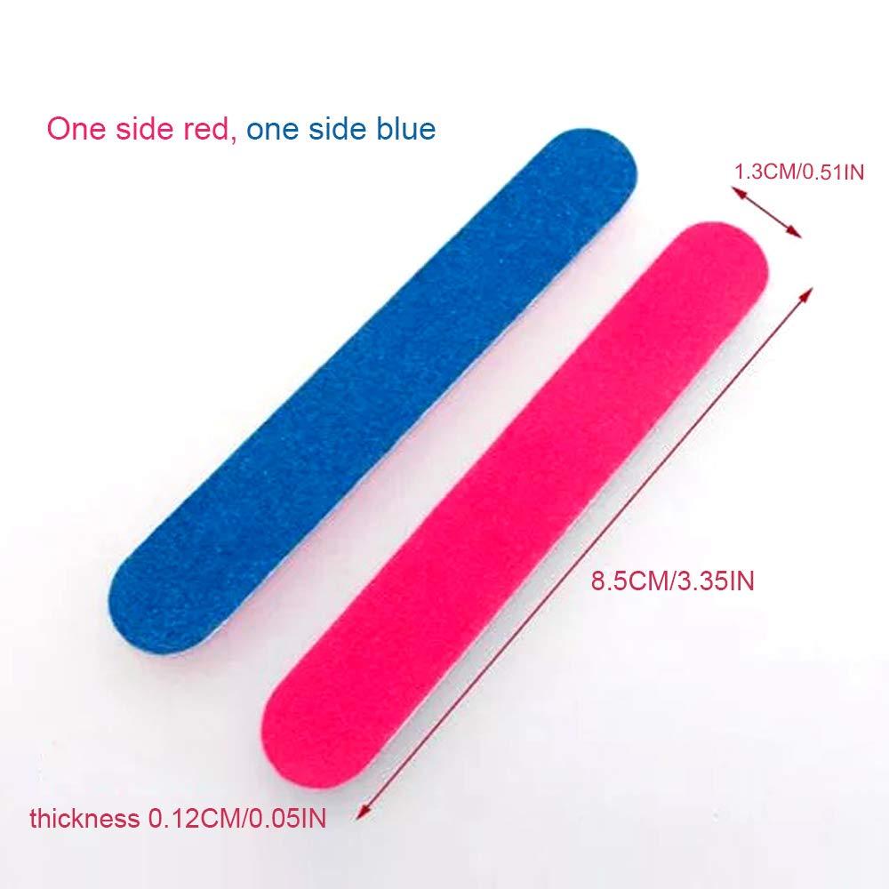 100 Piezas Limas de Uñas Desechables Tableros de Esmeril de Doble Cara Herramientas de Manicura, Azul y Rosa: Amazon.es: Belleza