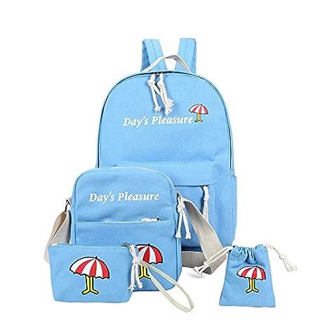 YWZQ 4 Kit de viaje de ocio lienzo Mochila mochilas escolares secundaria azul: Amazon.es: Equipaje