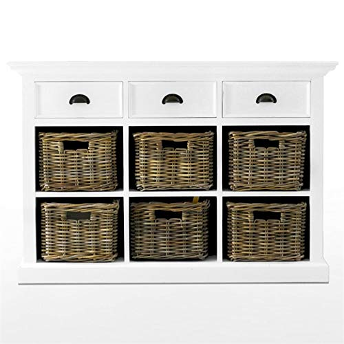 (NovaSolo Halifax Pure White Mahogany Wood Sideboard Dining Buffet With Storage, 3 Drawers And 6 Rattan Baskets)
