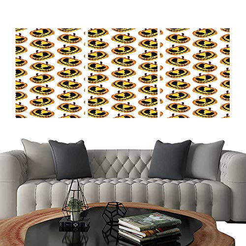 UHOO Triptych Paintings Combination DecorativeScary and Spooky Halloween Pumpkin Seamless Halloween Pattern. Bedroom,Hotel so on 24