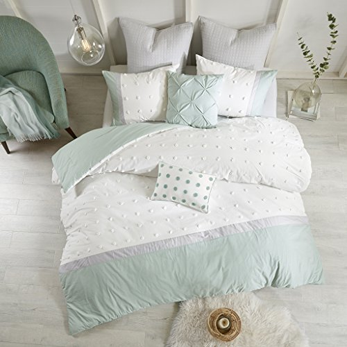 Urban Habitat Myla King/Cal King Size Bed Comforter Set Bed In A Bag - Ivory, Seafoam Green, Jacquard Tufted Dots Pom Pom – 7 Pieces Bedding Sets – 100% Cotton Bedroom Comforters ()