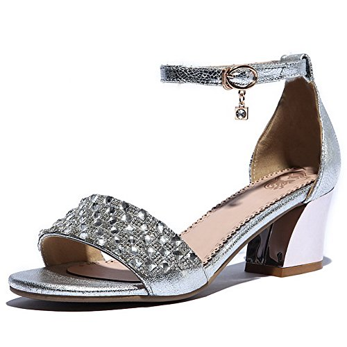 Silver WeenFashion Cow Sandals Kitten Leather Toe Open Women's Solid Heels Buckle O7r4wISqvO