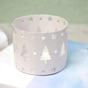 mjuio Xmas Hollow Candle Holder,Elk Christmas Tree Snowflake Candlestick Hollow Creative Christmas Home Decor Party Decoration