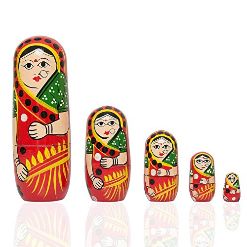 - 5 PCS Red Hand Painted Wooden Russian Nesting Dolls