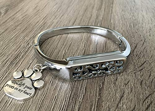 Silver Metal Bangle For Fitbit Flex 2 Activity Tracker Handmade Fashion Jewelry Replacement Fitbit Flex 2 Band Silver You Left Paw Prints On My Heart Pet Charm Luxury Accessory Fitbit Flex 2 Bracelet