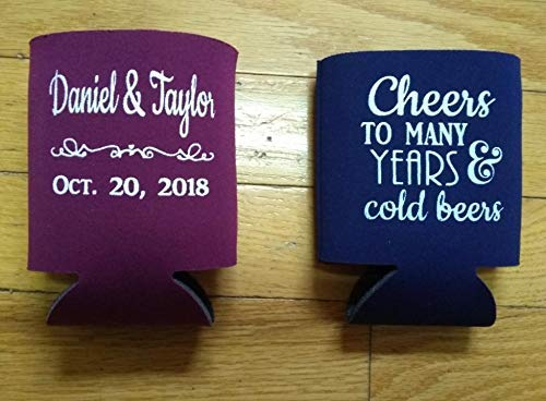 - Cheers and Beers to Many Years & Cold Beers Party Favor Screen Printed Can Coolers