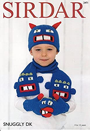 Amazon Com Sirdar Childrens Novelty Hat Gloves Scarf Snuggly