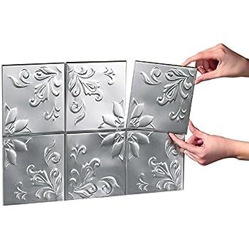 Tin Peel & Stick Raised Floral Pattern Backsplash, Kitchen, DIY Wall Tiles - Set Of 14, Silver