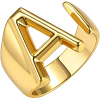 GoldChic Jewelry Personalized Gold Bold Initial Letter Open Ring Adjustable Women Statement Rings Party|Women's Signet…