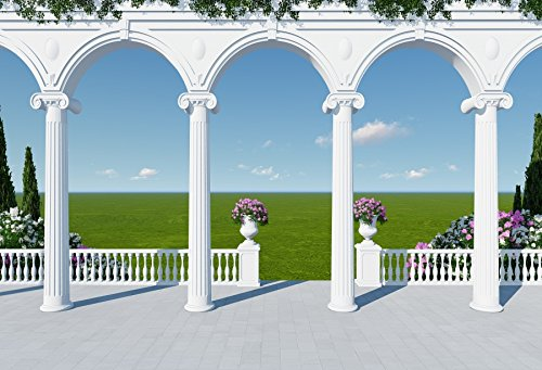 Laeacco Wedding Photo Backdrops 10x6.5ft Decorative Classic White Column Italy Landscape Building and Architecture Flower Bouquet Green Grassland Fresh View Wedding Cememony Party Invitation