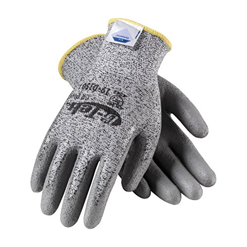 G-Tek CR Plus 19-D150/L Seamless Knit Dyneema/Nylon/Lycra Glove with Polyurethane Coated Smooth Grip on Palm and Fingers ()