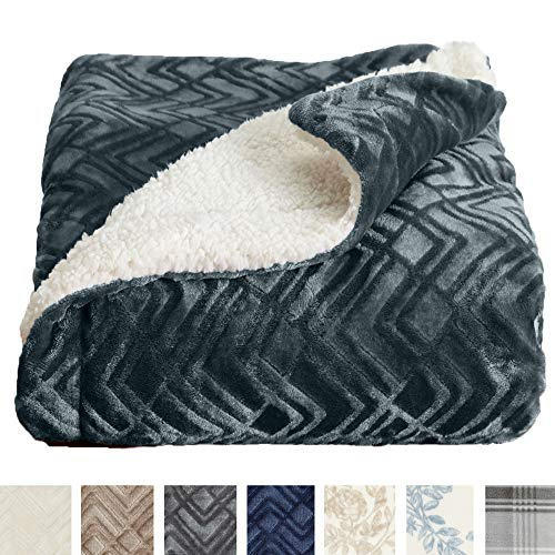 Home Fashion Designs Premium Reversible Sherpa and Sculpted Velvet Plush Luxury Blanket. Fuzzy, Soft, Warm Berber Fleece Bed Blanket Brand. (King, Charcoal)