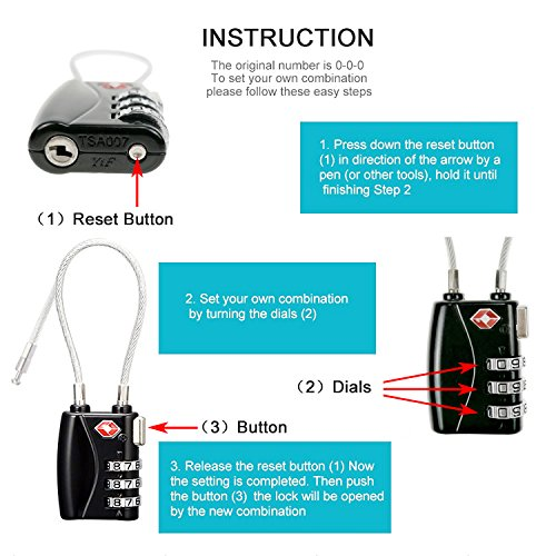 TSA Cable Lock for Luggage, Small 3 Dial Combination Padlock Ideal for Travel Added Security for Suitcases and Backpacks - 2 Pack Black by Muatoo (Image #4)